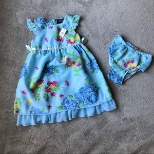 Kids/Baby Party, Casual Wear Dress 2T Floral Blue